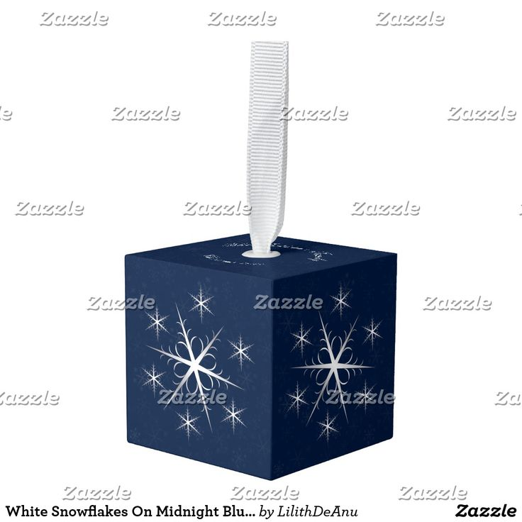 White Snowflakes On Midnight Blue-Family Name/Date Cube Ornament