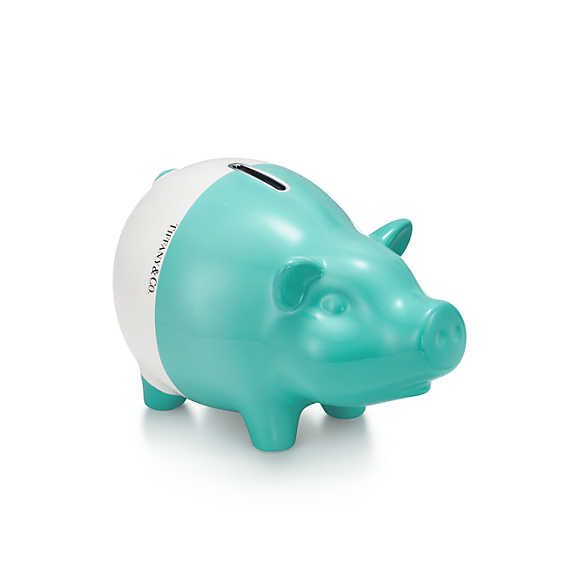 Color Block piggy bank in earthenware.