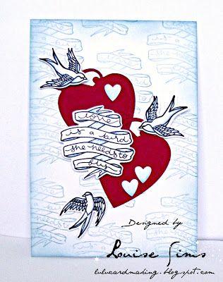 Spellbinders Swallow & Heart stamp & die set  Spellbloggers post - Love is a bird ... she needs to fly ~ Louise Sims Papercrafter  #spellbloggers  #spellbinders   #neverstopmaking