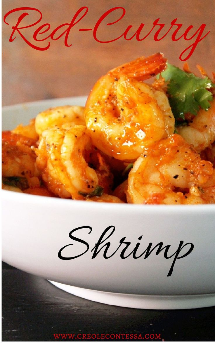 Red Curry Shrimp-Ingredients 30 large shrimp, peeled, deveined  1/2 cup coconut milk  1/2 cup chicken broth, low sodium  1 lime, juiced  1 tablespoon Thai red curry paste  1 tablespoon brown sugar  1/2 tablespoon creole seasoning  2 teaspoons black pepper  2 teaspoon garlic powder  1 teaspoon onion powder  1 teaspoon chili powder  extra virgin olive oil  green onion to garnish  cilantro to garnish  rice and crusty bread to serve