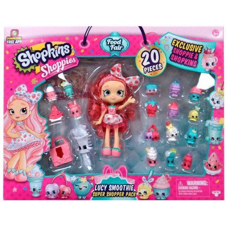 Shopkins Shoppies Food Fair Exclusive 20 Piece Lucy Smoothie Super Shopper Pack, Includes: 1 exclusive shoppie, 16 exclusive shopkins, 1 brush, 1.., By Moose Toys