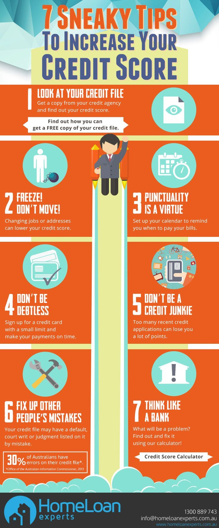 A good credit score is essential to getting your home loan approved but how do you increase your score? This infographic shows 7 #tips to increasing a #creditscore. https://www.homeloanexperts.com.au/blog/home_loan_articles/increase-your-credit-score/ building credit, credit score