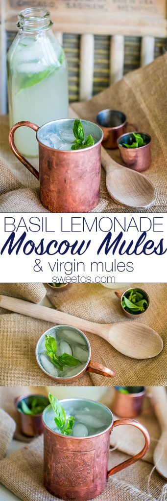 These moscow mules and virgin mules have a unique twist with basil lemonade! Perfect for parties!