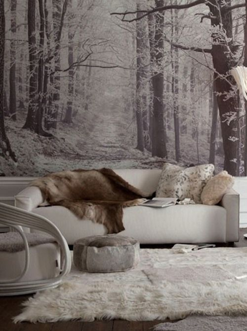 Winter forest living room