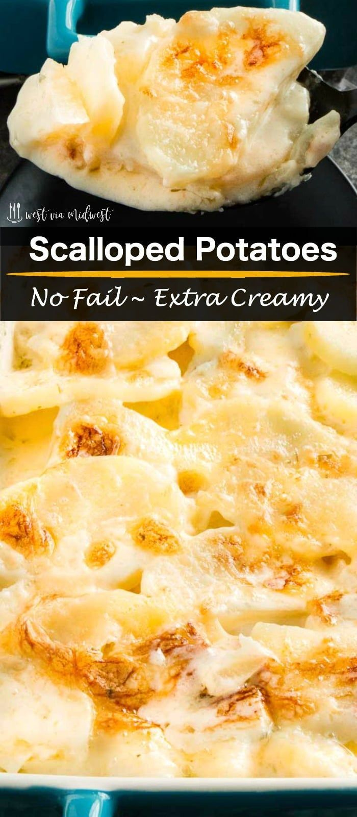 This extra creamy, easy scalloped potatoes recipe is the easiest side dish ever. Thick velvety sauce surrounds perfectly cooked potatoes. Ideal for entertaining because you can make them ahead and just warm them to serve them.#sidedish #scallopedpotatoes www.westviamidwest.com via @westviamidwest