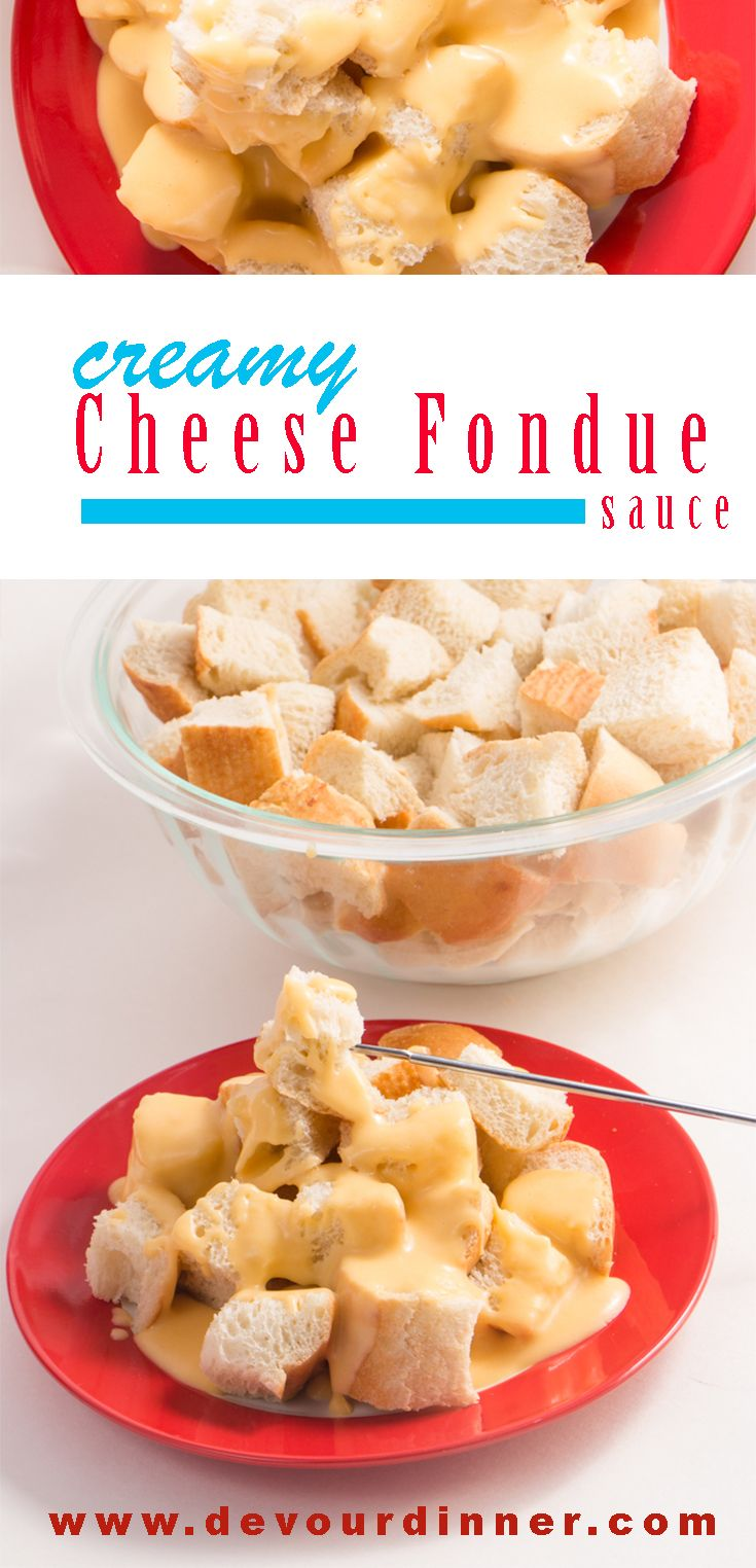 Cheese Fondue - Devour Dinner.  Creamy Cheese Sauce Fondue.  A Family tradition served year round.  We love this cheese sauce over cubed french bread or veggies.  It's wonderful for parties, as an appetizer, a special dinner, or an afternoon snack.  #devourdinner #Appetizer #dinner #Party #Snack #Cheese #cheesesauce #Fondue #CreamyCheeseSauce #Cheesesauce #Frenchbread #VeggieCheeseDip #hotdip #Hotcheesedip #Food #Foods #foodblogger #Recipe #recipes #Yummy