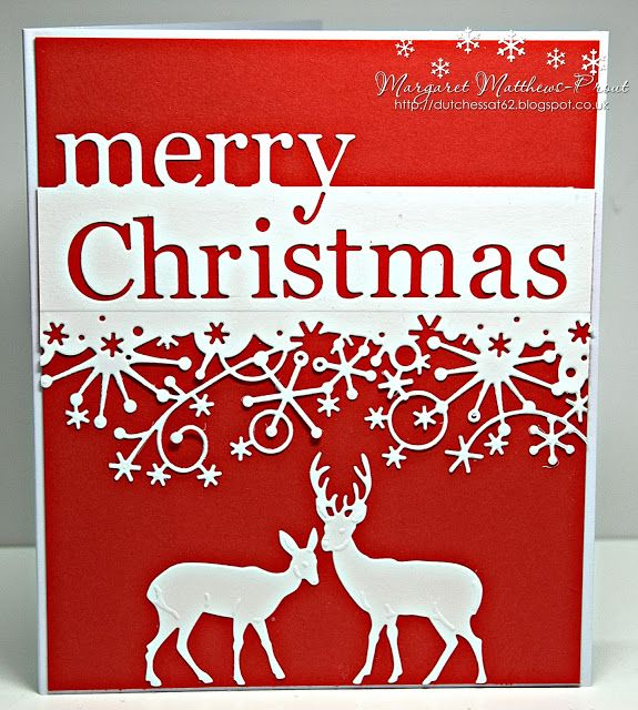 handmade Christmas card by dutchess ... clean and simple ... red card with white die cut by Memory Box ... deer, snowflake border and positive/negative cut sentient ...