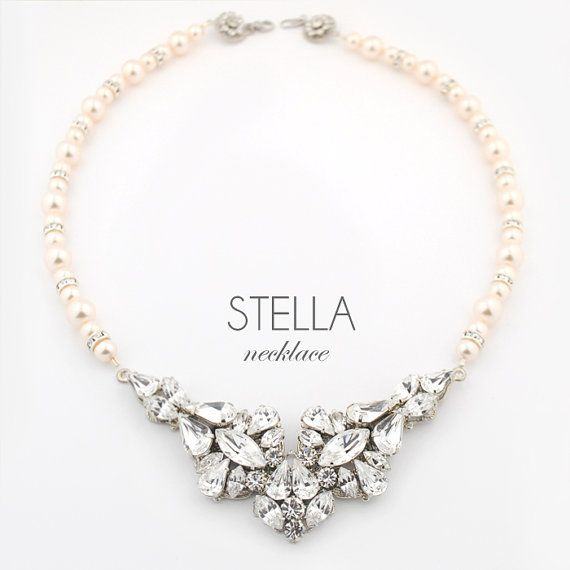 Vintage style Swarovski crystal and pearl necklace - Made by hand with Swarovski crystal components - Original design made to the highest