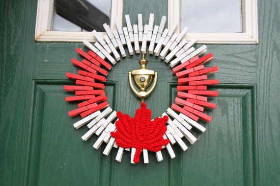 Canada Day Wreath Wreaths, Maple Leaf Wreath, Red and White Clothespin Wreath, Patriotic Home Decor, Canadian Flag