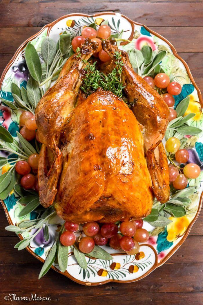 Roast Turkey with Apple Cider Brine ~ https://FlavorMosaic.com