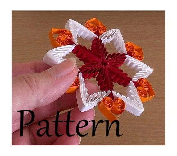 Paper quilling pattern step-by-step tutorial DIY ornament