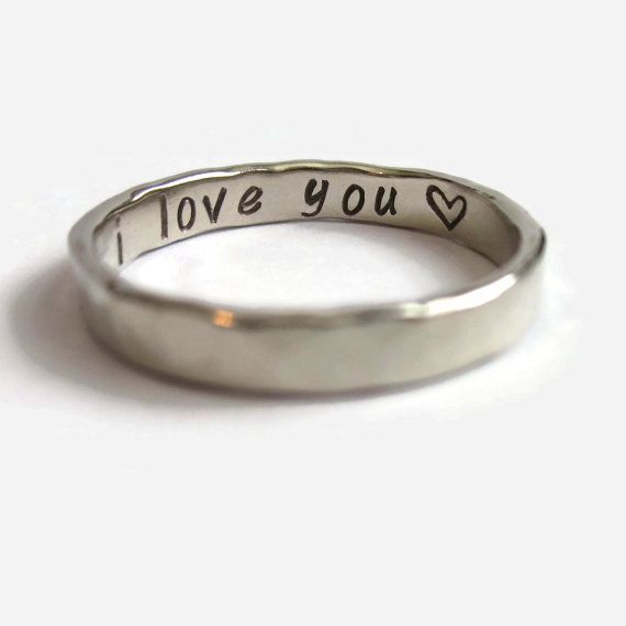 Hidden Message Ring, I Love You Heart Ring, Sterling Silver Thumb Ring, Personalized Message Ring, Hammered Jewelry, Gift, Secret Message