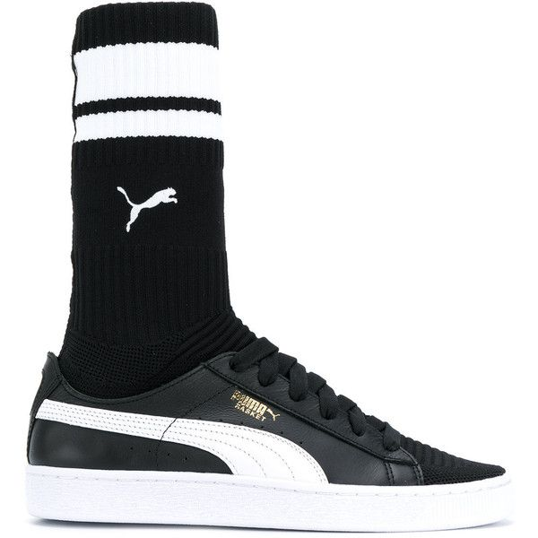Puma sock sneakers ($210) via Polyvore featuring shoes, sneakers, black, puma shoes, puma trainers, puma footwear, black trainers and kohl shoes