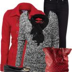 Loose Fit Knit Sweater With Red Pea Coat Fall Outfit