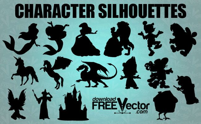 mermaid silhouette | character silhouettes free vector fairytale character silhouettes ...
