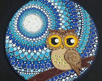 Guijarro punto diseño Mandala pisapapeles por CornishMaidPebbles