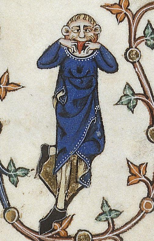 'Ner Ner!'  From the Gorleston Psalter (MS 49622), f.123 r (c. 1310), @BLMedieval