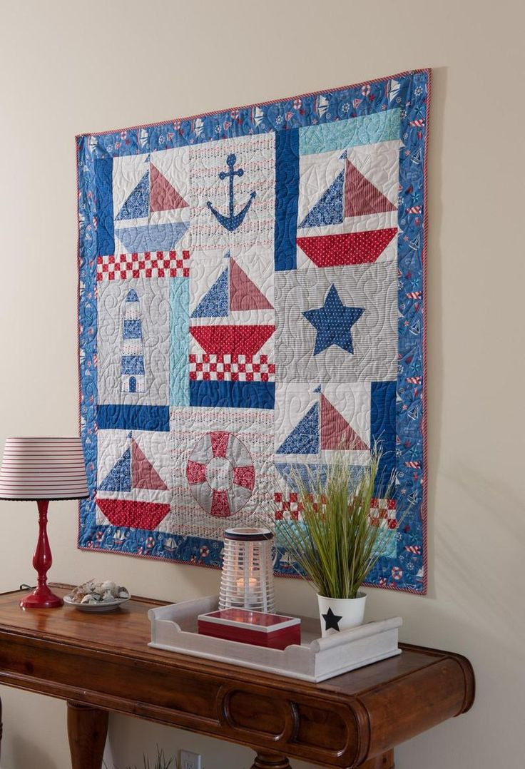 Decorating Idea. Nautical quilt as wall hanging.