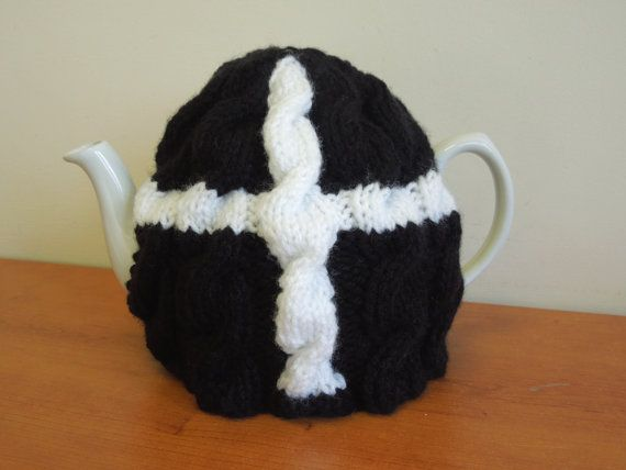 Items similar to Hand made knitted Cornish Flag, St. Piran tea cosy, to keep the teapot warm, for 2 pint, 4-6 cup pot 40 fl oz. kitchen,  gift, flag, Poldark on Etsy