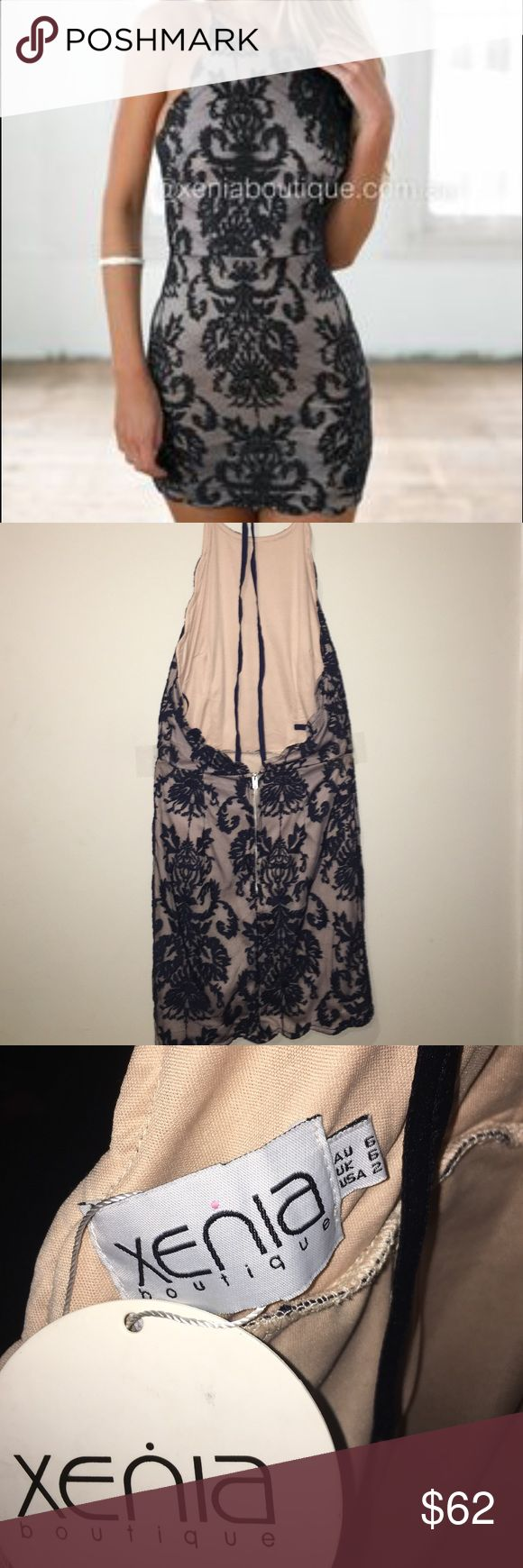 Xenia Boutique Dress New w/ Tags Halter, lace overlay dress from Xenia Boutique (Australia) with a low open back. Never worn before with tags on it! Dark navy color. Xenia Boutique Dresses Backless