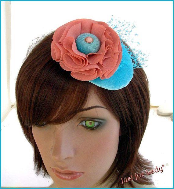 wedding fascinator/hat Bibi de Cocktail Turquoise fleur