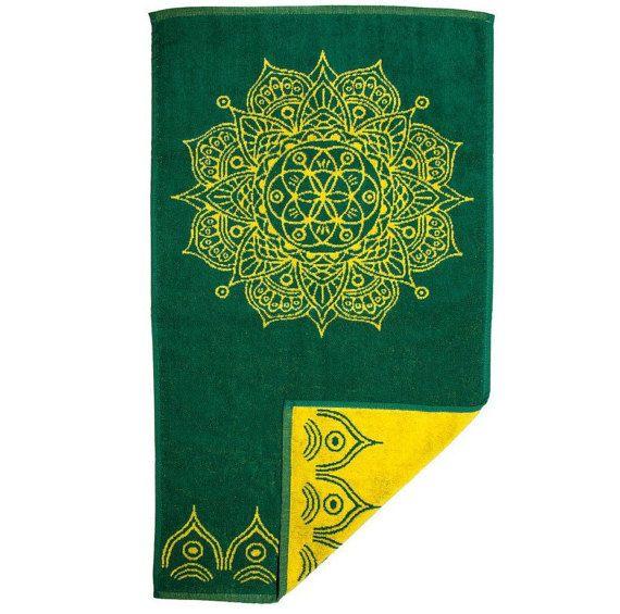 Bath Towel Mandala Design Bathroom Towels Green Bathroom Yellow Bathroom  Decor Yoga Gift
