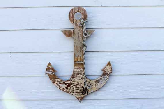 Reclaimed Wood Anchor Sign Rustic Anchor Outline by ATXFrontporch