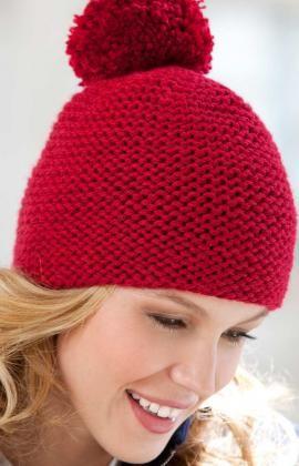 Great Garter Knit Hat Knitting Pattern   Red Heart