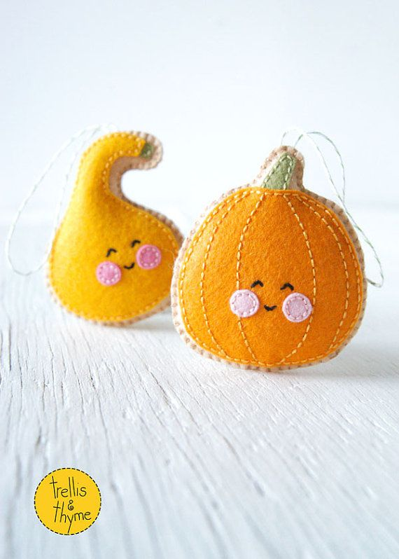 PDF Pattern - Little Pumpkin and Gourd Sewing Pattern, Halloween, Thanksgiving, Autumn Felt Ornament Pattern, Softie Pattern