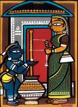 A Jamini Roy painting of Krishna and Yashoda.....kalighater patochitra,,,these are the true faces of bengal:-)