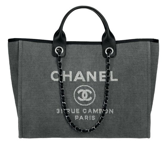 Chanel Dark Grey Deauville Tote Large Bag