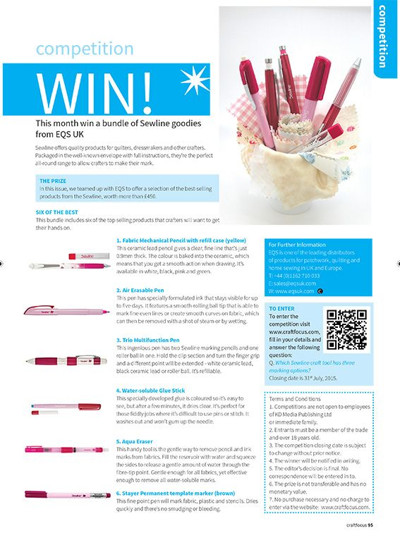 Enter our competition to win Sewline goodies from EQS