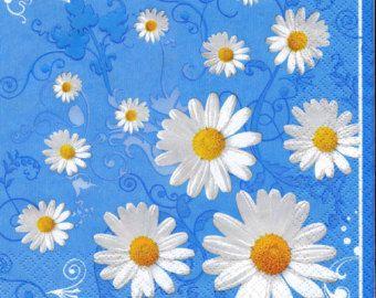"""6 Decoupage Flowers/Floral Napkins Camomile   33x33 cm. 13""""x13"""" set of 6 pcs"""