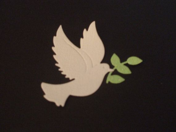 Pretty Dove with Olive Branch Die Cut  Bling by mydiecutboutique