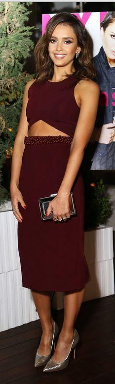 Jessica Alba:  Dress – Cushnie et ochs  Shoes -Casadei  Earrings  - Melissa Kaye  Rings – W. Britt and Dana Rebecca Designs