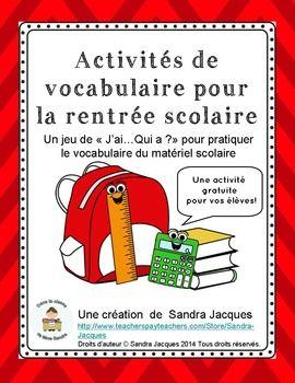 JaiQui a? est un jeu rapide et amusant dans lequel toute la classe participe pour rviser le vocabulaire en lien avec le matriel scolaire. Cest une activit parfaite pour le retour  lcole dans les classes dimmersion franaise et de franais langue seconde.