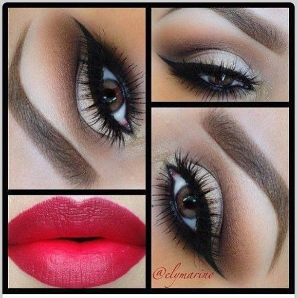 Matte White and Brown Eye Makeup – Winged Cat Eyeliner – Lashes – Perfect Brows – Matte Red Lips