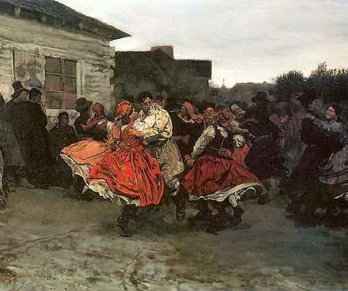 MAZURKI - the traditional trance music and dance from Mazowsze (Mazovia) region, the heart of Poland. Fragment of Józef Chełmoński's painting, 1878.