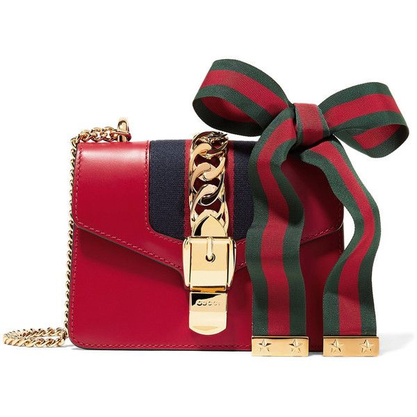 Gucci Sylvie mini chain-embellished leather shoulder bag ($1,870) ❤ liked on Polyvore featuring bags, handbags, shoulder bags, claret, mini handbags, gucci purses, mini purse, genuine leather handbags and red purse