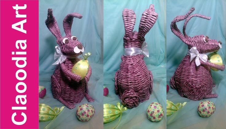 nyuszi Królik, zając z papierowej wikliny [rabbit,bunny, wicker paper, Easter d...