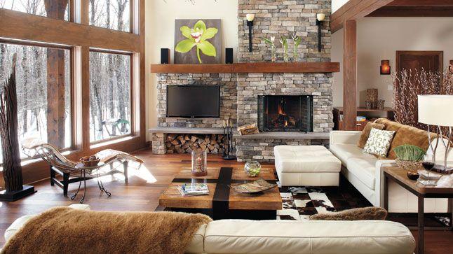 Rassemblement mont tremblant dans un magnifique chalet - Decoration foyer salon ...
