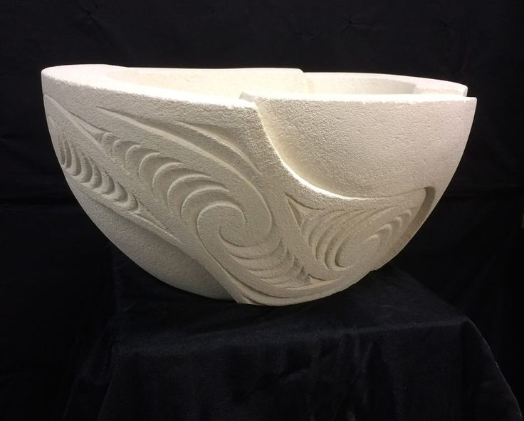 Carved from Oamaru stone by David Taylor. Ipu o te wai ora, Ipu o te hau ora (bowl for the water of life, bowl for the breath of life), $895. Suitable for indoors or out, this sculpture measures 59cm wide, 28cm high and 45cm deep. #nzmade