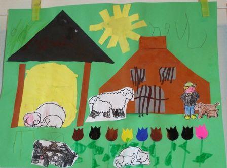 Boerderij vouwen en het dak van de hooiberg! Dieren van kleurplaat en bloemplakkers maken het af!