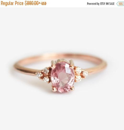 Peach Sapphire Ring Rose Gold, Diamond Sapphire Engagement Ring, Oval Cluster Ring