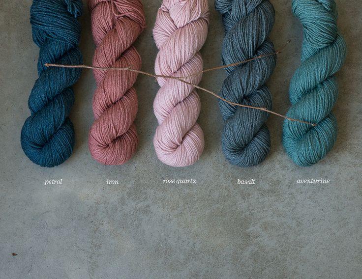 new colors in Tern: petrol, iron, rose quartz, basalt, and aventurine / quince & co