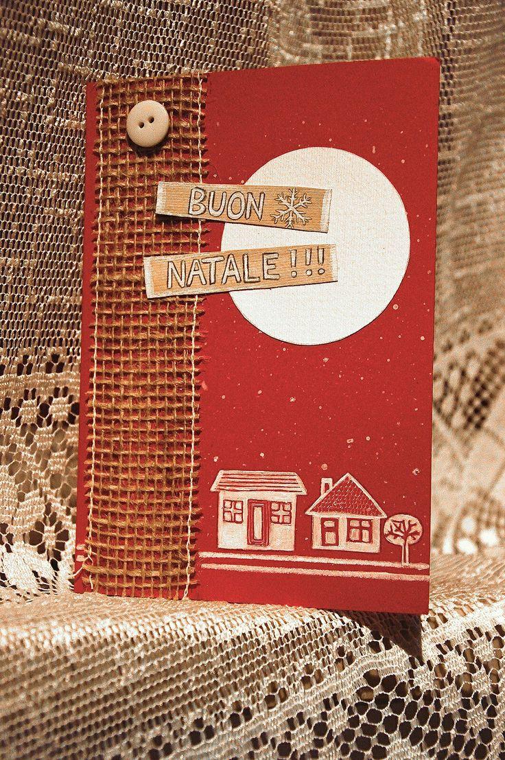 Christmas  cards ,biglietti di natale, fai da te , rosso .