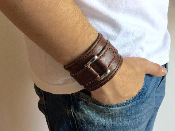Polsino uomo, braccialetto marrone, bracciale in pelle, festa del papà, regalo fidanzato, accessori uomo by MaisonIvoire
