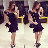 Мед мода черный кружева лоскутная мини платье свадебные платья феста femininas LQ4848
