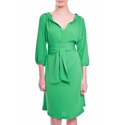 Greta - Hilla Silk Dress Emerald Green - Kotyr.com