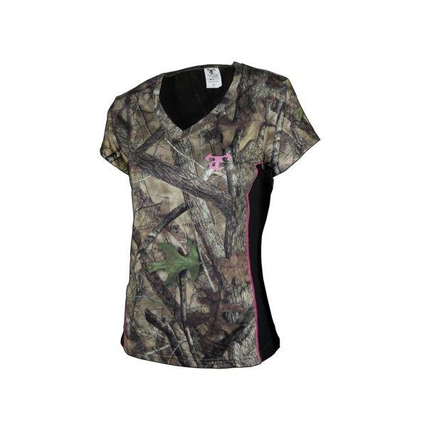 BLUSA CUELLO V PERFORMANCE  Elaborado en material 100 % Polyester   Diseño tipo camuflado con detalles rosa $55.000 http://www.sanragua.com/ropa-para-hacer-ecologia/indumentaria-femenina/blusa-cuello-v-performance/